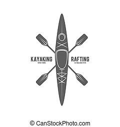 vindima, logotype, etiqueta, rafting, emblema, ou