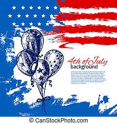 vindima, mão, americano, 4th, desenho, fundo, flag., desenhado, julho, dia, independência
