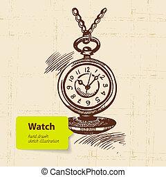 vindima, mão, clock., ilustração, desenhado