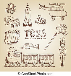 vindima, mão, desenhado, brinquedos