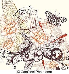 vindima, mão, vetorial, beautfiul, fundo, desenhado, flores, style.eps