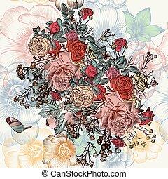 vindima, mão, vetorial, padrão, desenhado, flores, style.eps