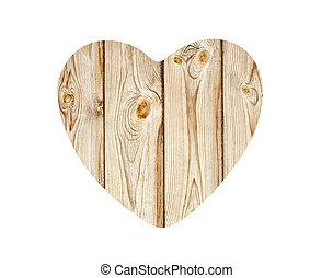 vindima, madeira, coração, isolado, branco