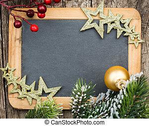 vindima, madeira, quadro-negro, em branco, formulou, em, árvore natal, ramo, e, decorations., inverno, feriados, concept., espaço cópia, para, seu, texto