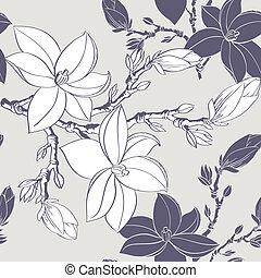vindima, magnólia, flor, seamless, padrão