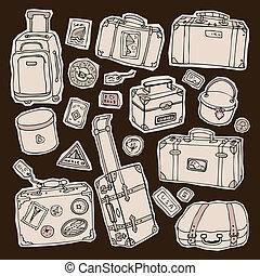 vindima, malas, set., viagem, vetorial, illustration.