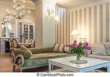 vindima, mansão, -, retro, lounge