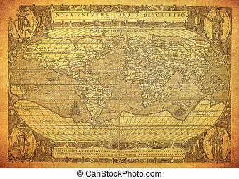 vindima, mapa, 1602, mundo