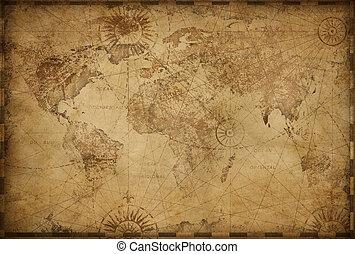 vindima, mapa, ilustração, mundo, antigas