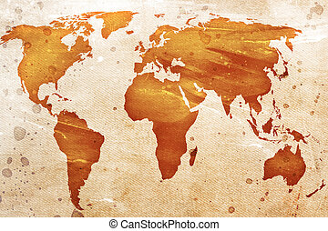 vindima, mapa, mundo