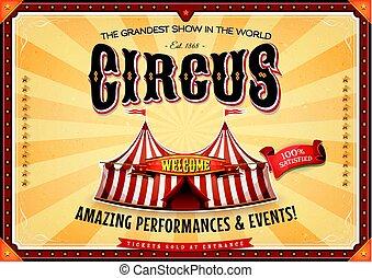 vindima, marquee, circo, cartaz, grandioso
