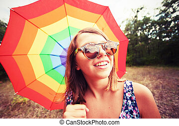 vindima, menina, com, arco íris, guarda-chuva