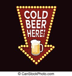 vindima, metal, aqui, sinal, cerveja, gelado