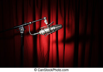 vindima, microfone, cortina