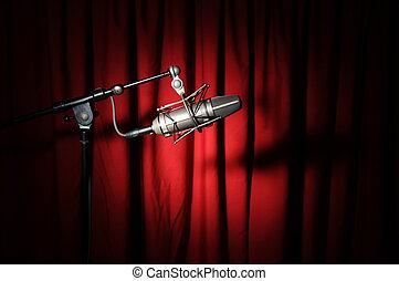 vindima, microfone, e, cortina