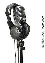 vindima, microfone, modernos, fones