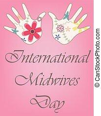 vindima, midwives, mãos, bebê, internacional, dia