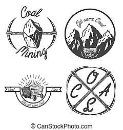 vindima, mineração, emblemas, carvão