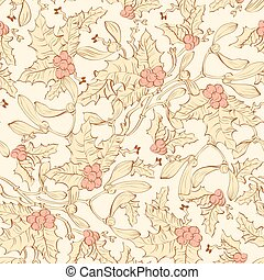 vindima, mistletoe, holly berries, seamless, pattern., amarela, cor-de-rosa, sienna, marrom