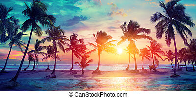 vindima, modernos, -, silhuetas, árvores, tropicais, cores, palma, praia ocaso