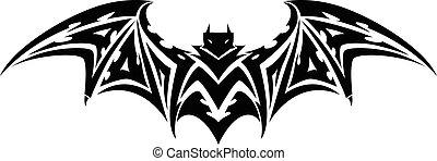 vindima, morcego, tatuagem, engraving.