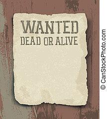 vindima, morto, alive., cartaz, querido, ou