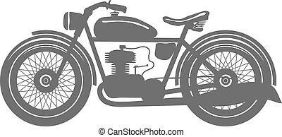 vindima, motocicleta, isolado, vetorial, ilustração