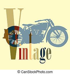 vindima, motocicleta, motocicleta, colorf