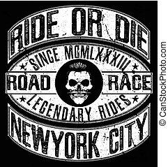 vindima, motocicleta, t-shirt, gráfico