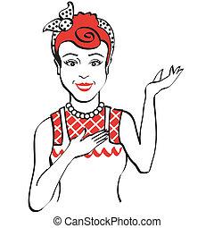 vindima, mulher, retro, 1950s
