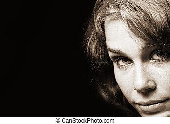 vindima, mulher, retro, clássico, retrato