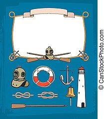 vindima, náutico, corda, quadro, decorativo, symbols., âncora, e, sino, farol, retro, mergulhando equipamento