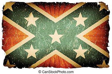 vindima, nós, bandeira confederada, cartaz, fundo