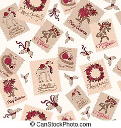 vindima, natal, selos, luz, seamless, pattern., poinsettias, wreaths., camelo, mistletoe