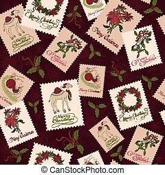 vindima, natal, selos, seamless, pattern., mistletoe, wreaths., ouropel