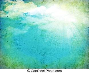 vindima, natureza, fundo, com, grama verde, e, sol