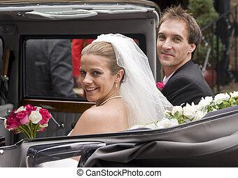 vindima, noivo, noiva, recepção, casório, chegar, car