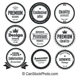 vindima, nove, scalable, emblemas