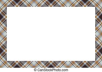 vindima, ornament., vector., xadrez, retro, borda, style., escocês, padrão, quadro, tartan