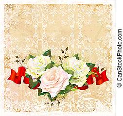 vindima, ornamental, fundo, com, rosas, e, fita