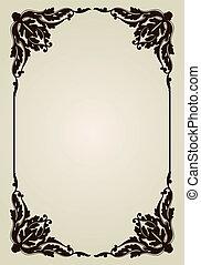 vindima, ornamento, antigas, frame., vetorial