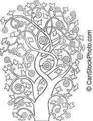 vindima, outl, silueta, árvore, ornate