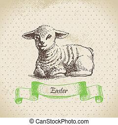 vindima, páscoa, fundo, com, lamb., mão, desenhado,...