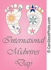 vindima, pés, bebê, midwives, internacional, dia