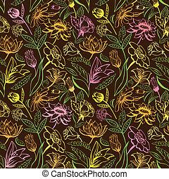 vindima, padrão, marrom, floral