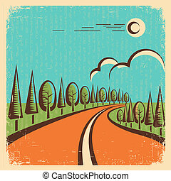 vindima, paisagem, estrada, natureza