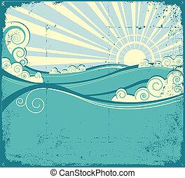 vindima, paisagem, mar, waves., ilustração