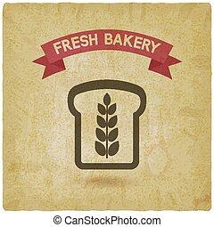 vindima, panificadora, símbolo, fundo, pão