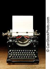 vindima, papel, antigas, Máquina escrever, em branco