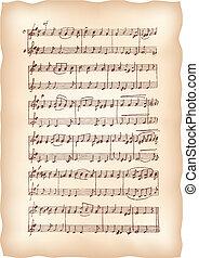 vindima, papel, feito à mão, notas., musical